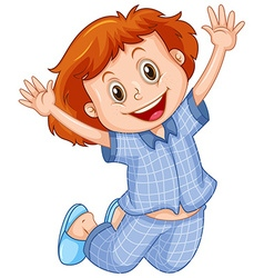 Girl in blue pajamas jumping vector