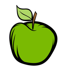 Green apple icon cartoon vector