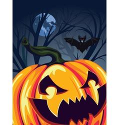 Halloween Pumpkin in the Forest2 vector image vector image