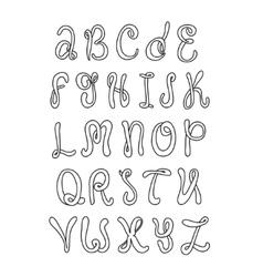 Hand drawn alphabet doodle letters set black vector