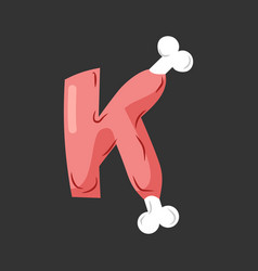 Letter k meat font pork and bone alphabet sign vector