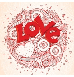 Light paper heart card with sign on ornate vector