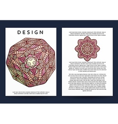 Magazine with beige mandala Realistic brochure vector image
