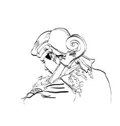 Musician cellist in a retro wig vector image