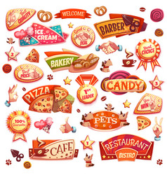 Pets and different bakery elements vector