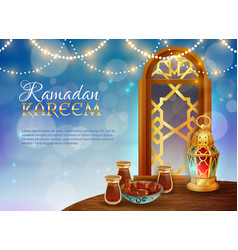 Ramadan kareem traditional festive food poster vector