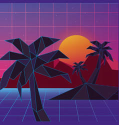 Retrowave design of island with palms vector