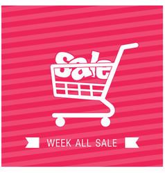 Sale shopping cart week all sale ribbon pink backg vector