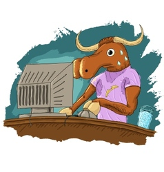 Scared bull vector image