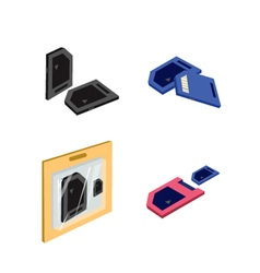Set of sd card or media cards vector