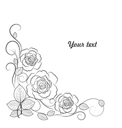 Simple floral background in black and white with vector