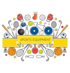 Sports Equipment Line Icons Display Label vector image vector image