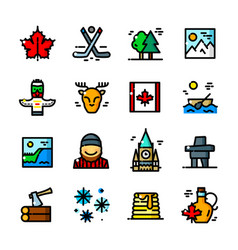 Thin line canada icons set vector