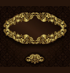 Vintage gold frame and detailed seamless pattern vector