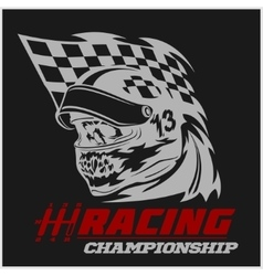 Vintage Skull Checkered Flags Racing vector image