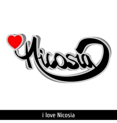 Nicosia greetings hand lettering Calligraphy vector image