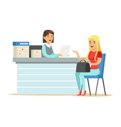 young business woman interviewing job applicant at vector image