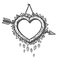 Heart wooden frame with arrow vector