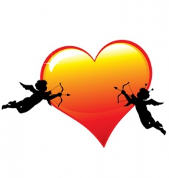 Two cupid silhouettes vector