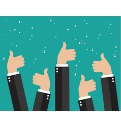Cheering business people holding many thumbs vector