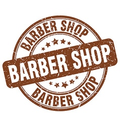 Barber shop brown grunge round vintage rubber vector