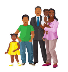 Afro-american happy family of parents and three vector