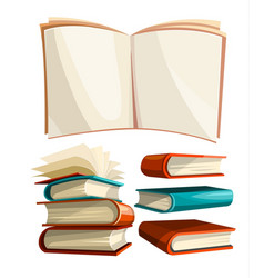 big piles set of books vector image vector image