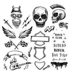 bikers doodles set hand drawn design elements vector image vector image