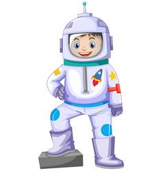 boy in spacesuit smiling vector image vector image
