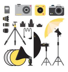 Camera photo studio icons optic lenses vector