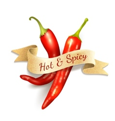 Chili pepper ribbon badge vector image