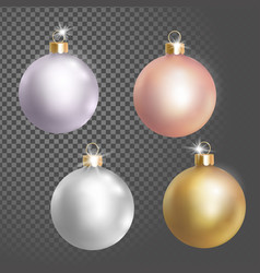 collection of christmas ball tree decoration white vector image vector image
