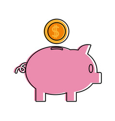 color piggy to save money and coins with peso vector image