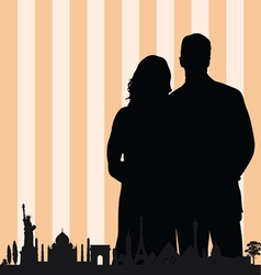 couple with famous monument color vector image vector image