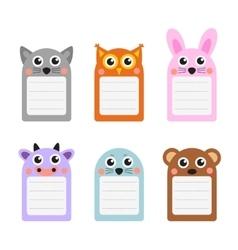 Cute animals note set of scrapbook elements vector
