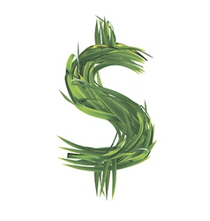 Dollar sign from grass vector
