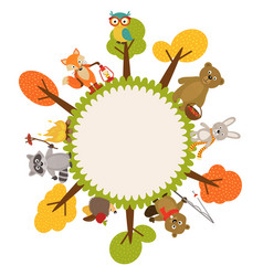 frame with animals of forest vector image