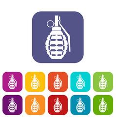 Hand grenade bomb explosion icons set vector
