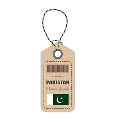hang tag made in pakistan with flag icon isolated vector image