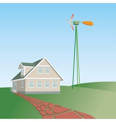 house on a green hill vector image