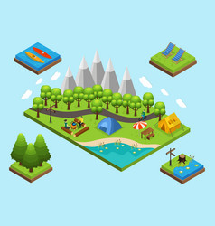 Isometric outdoor recreation composition vector