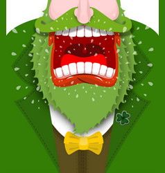 leprechaun shout angry dwarf shout scary gnome vector image