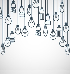 Light bulbs hanging on cords - semicircle lamp vector