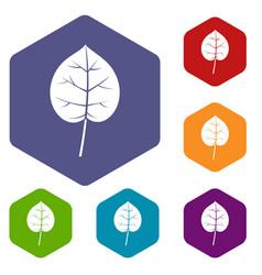 Linden leaf icons set hexagon vector