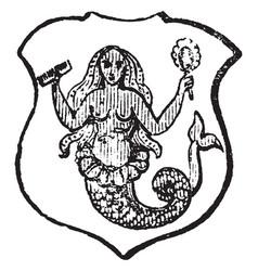Mermaid crined is said of an animal whose hair is vector
