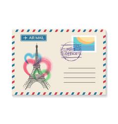 retro paris postal invitation vector image
