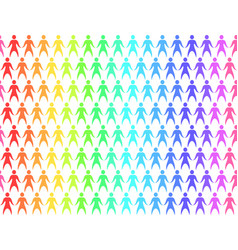 Seamless pattern with rainbow people holding hands vector