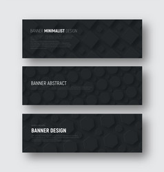 set of black horizontal banners with rhombuses vector image vector image