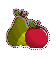 Sticker pear and apple fruit icon stock vector