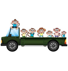 Truck and monkeys vector